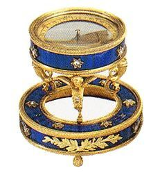 Faberge Compass - Nicholas & Alexandra Royal Blue Guilloche Enamel, Gold Gilt with Star Design on the Enamel