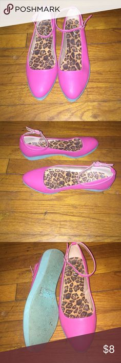 Wedge Mary Janes Pink and Turquoise wedged Mary Janes. Worn 2 or three times. Qupid Shoes