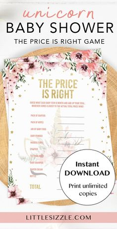 Vintage Floral Baby Shower The Price is Right Game Girl Hot Air Balloon