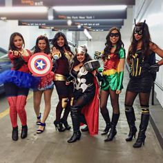 Get your BFFs together and kill the costume game this year this with these 75 amazing ideas. You're sure to win any Halloween contest with these genius group costume ideas. Superhero Family Costumes, Girl Group Halloween Costumes, Avengers Costumes, Family Halloween Costumes, Halloween Outfits, Zombie Costumes, Halloween Couples, Costume Ideas For Groups, Amazing Halloween Costumes