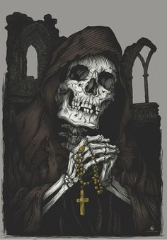 The skeletonised remains of a coverted Outcast king. Like all kings of the Outcast clan, his skeleton was left on his throne - or in this case, where one would be - bent in prayer in accordance to his personal beliefs.