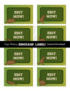 Dinosaur Food Labels Instantly Downloadable and by SugarShebang