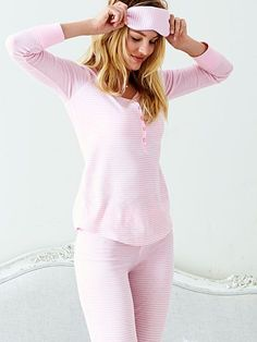 Get into a snowed-in state of mind. | Victoria's Secret The Fireside Long Jane Pajama