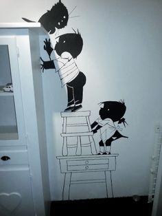 Ook wij hebben een muurschildering in de (klein)kinderkamer.