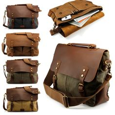 This is Geaonice men's vintage canvas leather satchel school military messenger shoulder bag travel bag. A great bag for any professional or student.