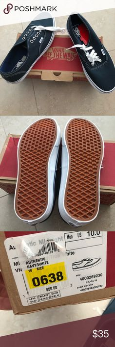 BNIB Vans navy blue and white sneakers size 10 Brand new and still in the box. Men's Vans shoes navy blue canvas and white rubber trim. Great boat shoes or casual sneakers to wear with your favorite shorts or jeans. Size 10 Vans Shoes Sneakers