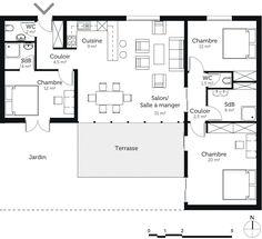 plan de maison trois chambres