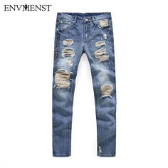 >> Click to Buy << 2017 Spring ripped Jeans men brand clothing Hole Elastic Casual Jeans Pants male Straight Men Denim Pants Big Size 40 Size #Affiliate