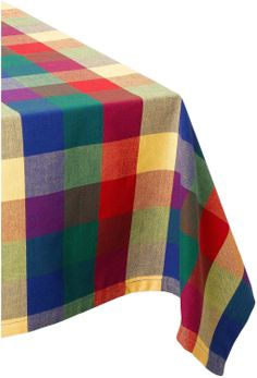 Amazon.com   DII 100% Cotton Palette Check Indian Summer Tablecloth 52x52,  60x84