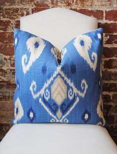 Indigo Ikat -  Pillow Cover - 20 in square - Designer Pillow - Decorative Pillow - Throw Pillow