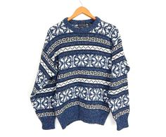 Vintage 90s Blue & White Snowflake Knit Sweater - Size Large - Women's Oversized Fair Isle Knit Crew Neck Pullover Jumper Christmas Holiday