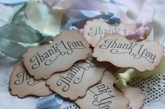 THANK YOU Vintage Style Tags/Labels-Set of 10-Party-Wedding-Favours-Gifts-Unique