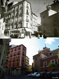 c/ Segovia con Travesía del Nuncio - década de los 40 vs. 2019. Madrid, España. Multi Story Building, Outdoor, Photo Caption, Historia, Outdoors, Outdoor Games