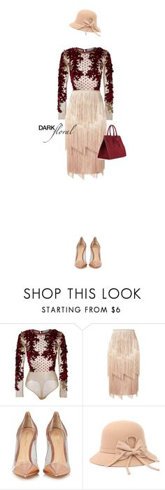 """""""Darkfloral on nudes"""" by cattrina-k ❤ liked on Polyvore featuring Amen, Tom Ford, Gianvito Rossi, Mansur Gavriel, nudecolor and darkflorals"""