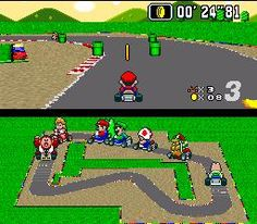 Super Mario Kart - SNES- get your friends around for the best racing game ever.