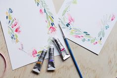 watercolour florals, hand painted, wedding stationery from Wedding and Colur