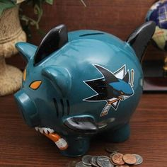 San Jose Sharks Large Resin Thematic Piggy Bank. I want!! :)