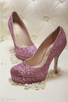 Women s Sparkly Metallic Rose Gold Pink Glitter Heels Wedding Bride ... 13aedd528f