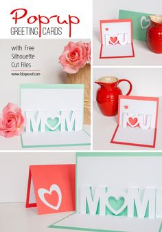 Mom, I Love You pop up cards with Silhouette cut files for free download | www.1ogwoof.com