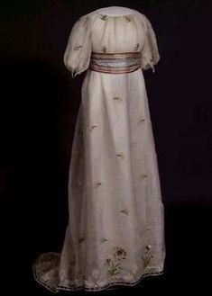 Dress with silk embroidery and sash, 1800
