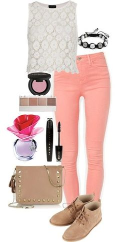 Stilababe09-style:    Inspired Outfit With Coral Jeans  Topshop Lace Top / Skinny Jeans / Topshop Lace Up Boots / Valentino  Handbag / Shamballa Jewels Bangle Bracelet, $81 / Gorgeous Cosmetics Colorful Eyeshadow / Witchery , $21 / L'oréal Paris Brown Mascara, $15    Love It! - Click for More...