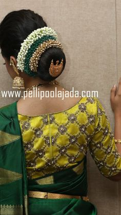 Saree Hairstyles, Bride Hairstyles, Trendy Hairstyles, South Indian Bride Hairstyle, Indian Wedding Hairstyles, Bridal Hair Buns, Bridal Hairdo, Bun Styles, Hair Styles