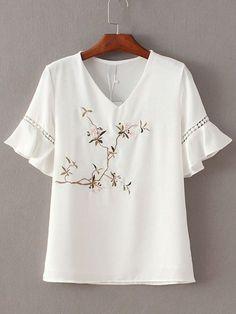 Shop White V Neck Ruffle Sleeve Embroidery Blouse online. SheIn offers White V Neck Ruffle Sleeve Embroidery Blouse & more to fit your fashionable needs. Embroidery Fashion, Embroidery Dress, Embroidered Blouse, Tunic Blouse, Shirt Blouses, Blouse Styles, Blouse Designs, Mode Top, White V Necks