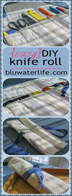 A DIY knife roll bag you can make in no time. A standard pillow case and minimal sewing creates a roll bag for anything from knives to brushes!  #kniferollbag #knifestorage #kitchenideas #bluwaterstyle