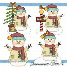 Snowman Fun 4 - Digital Clipart