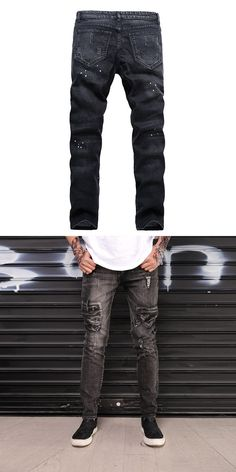 3ec6cc567be Knee hole washed style male fashion slim ripped jeans mens low rise bell  bottom jeans