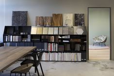 materials library and showroom of good interiors Material Library, Best Interior, Showroom, Bookcase, Shelves, Interiors, Color, Home Decor, Interior