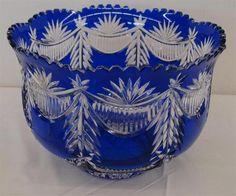 Large Cobalt Blue Cut to Clear Bohemian Art Glass Bride's Bowl