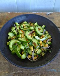 Thai Cucumber Salad with Peanuts Recipe; SO good. Wasn't sure if I was going to like it when it first came together, but once flavors blended...yum.