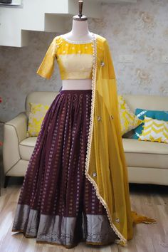 Stunning brown color benarasi lehenga and yellow color blouse with net dupatta.For more details kindly email at varunigopen@gmail.comwhats app 9121017226. 07 June 2019