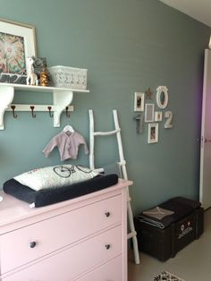 A baby room does not have to be pastel, try Soft Lime for example. Baby Bedroom, Nursery Room, Girls Bedroom, Girl Nursery, Hemnes, Kids Corner, Little Girl Rooms, Fashion Room, Kid Spaces