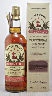 McDonald's Traditional Ben Nevis 46% 70cl  In commemoration of the 185 years of the existence of the Ben Nevis Distillery we have attempted to re-create this renowned whisky of almost 130 years ago, when in 1882, this particular malt whisky was selling world-wide, many , many more cases than all of the single malts that are so popular today.