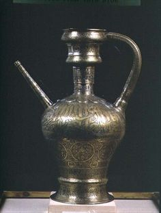 Brass ewer inlaid with gold and silver, Egyptian Mameluke, 13th century