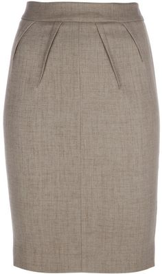 Emporio Armani Brown Pleat Detail Pencil Skirt