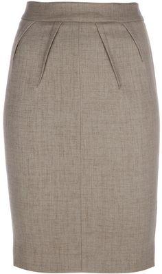 Emporio Armani Brown Pleat Detail Pencil Skirt