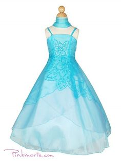 Turquoise Organza A-line Floral Flower Girl Dress