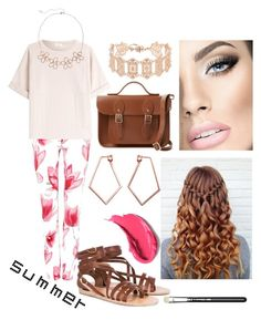 """Summer Outfit #67"" by liziekay ❤ liked on Polyvore featuring Armani Jeans, Brunello Cucinelli, Ancient Greek Sandals, The Cambridge Satchel Company, Dutch Basics and LC Lauren Conrad"