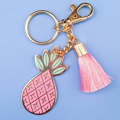 Easy To Grow Houseplants Clean the Air Transport Yourself And Your Keys To A Tropical Getaway The Pineapple Design Is Gorgeous Glossy Enamel And Is Accented With Tiny Iridescent Rhinestones. The Lobster Clasp Is Perfect For Latching To Pineapple Keychain, Pineapple Jewelry, Pineapple Design, Cute Keychain, Everything Pink, Pink Silk, Blush Pink, Hand Illustration, Girl Gifts