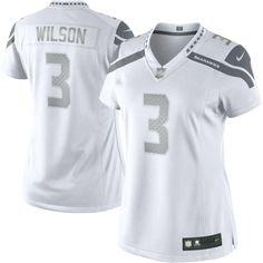Women's Seattle Seahawks Russell Wilson Nike White Platinum Jersey