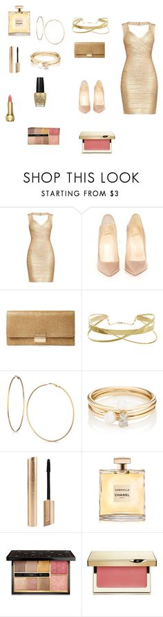 """""""news years fashion"""" by tinatoldme ❤ liked on Polyvore featuring Hervé Léger, Christian Louboutin, Furla, GUESS, Loren Stewart, OPI, Guerlain and Clarins"""