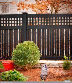 Gorgeous Black PVC Vinyl Semi-Privacy Fence with Old English Lattice and Three Inch Boards by Illusions Vinyl Fence. #fenceideas #homeideas #backyardideas #fence