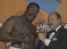 WWF / WWE WRESTLEMANIA 3 - The JYD Junkyard Dog has some choice words for 'King' Harley Race