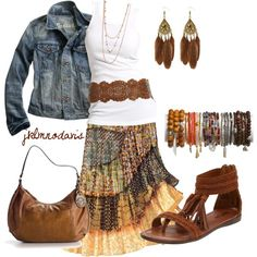 Love this boho look. Layered flowy skirt with a white tank, belt and jean jacket.