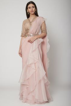 Champagne Gold & Blush Pink Embroidered Draped Saree Set With Belt Design by Ridhi Mehra at Pernia's Pop Up Shop Party Wear Indian Dresses, Designer Party Wear Dresses, Indian Bridal Outfits, Dress Indian Style, Indian Fashion Dresses, Indian Designer Outfits, Designer Wear, Stylish Dresses For Girls, Stylish Dress Designs