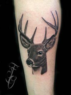 Deer tattoo by Francisco Ordonez @darksideofthewall