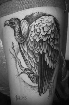 by Alex Tabuns Traditional Vulture Tattoo, Traditional Tattoo, Eagle Tattoos, Wolf Tattoos, Vulture Marvel, Small Tattoos, Tattoos For Guys, Alex Tabuns, Dark Art Tattoo